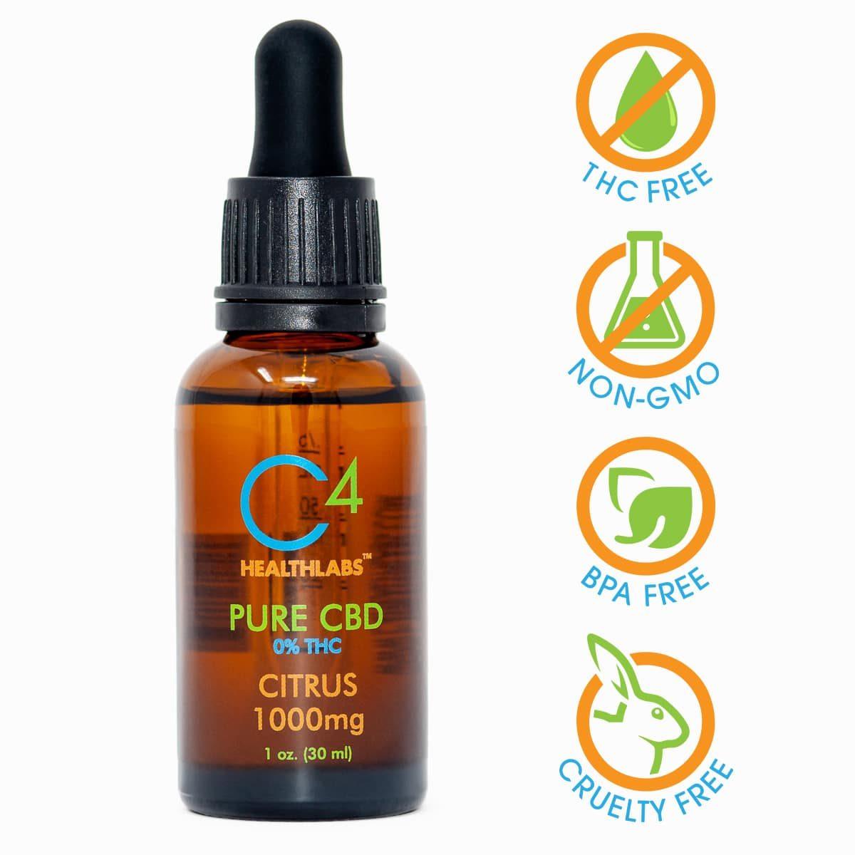 C4 Healthlabs Citrus 1000 MG THC Free CBD Oil