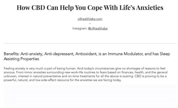 Thrive Magazine blog leadin: C4 Healthlabs CBD for anxiety